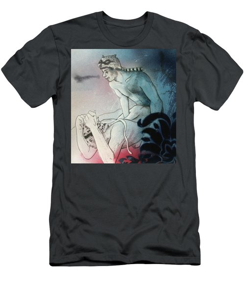 Men's T-Shirt (Athletic Fit) featuring the drawing Kittty In Trouble by Rene Capone