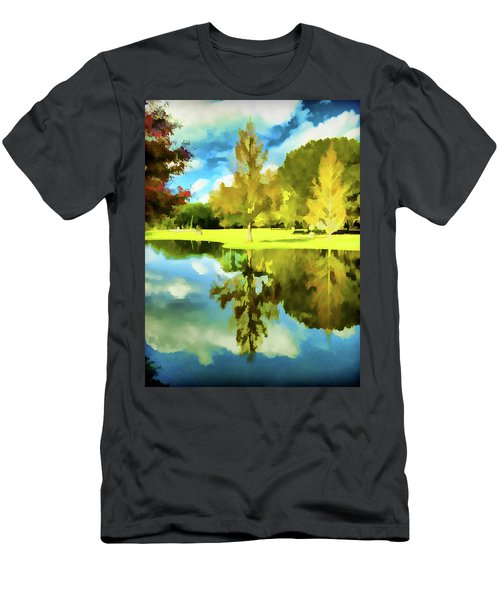 Lake Reflection - Faux Painted Men's T-Shirt (Athletic Fit)