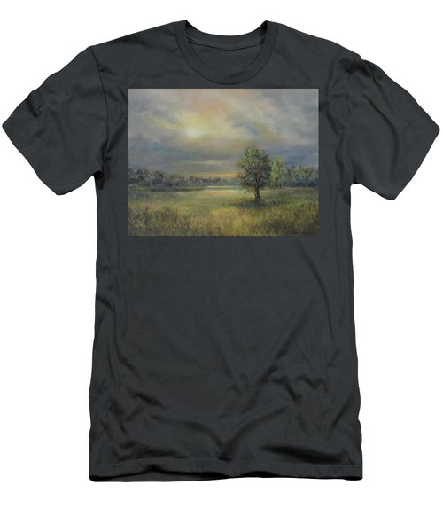 Landscape Of A Meadow With Sun And Trees Men's T-Shirt (Athletic Fit)
