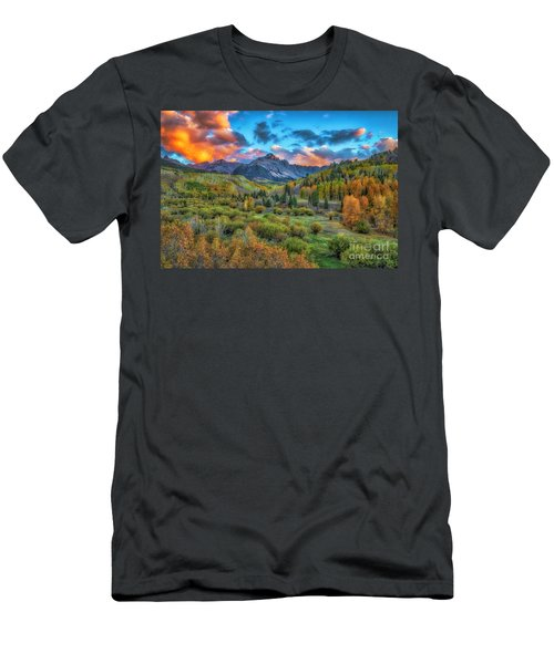 Men's T-Shirt (Athletic Fit) featuring the photograph Last Light Mount Sneffels by Bitter Buffalo Photography