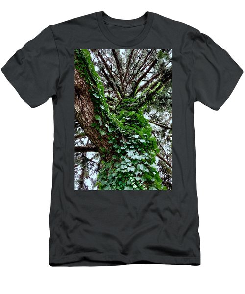 Men's T-Shirt (Athletic Fit) featuring the photograph Leafy Tree Trunk by Lukas Miller