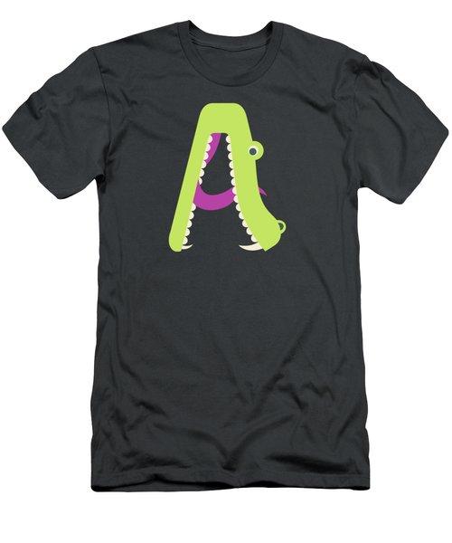 Letter A - Animal Alphabet - Alligator Monogram Men's T-Shirt (Athletic Fit)