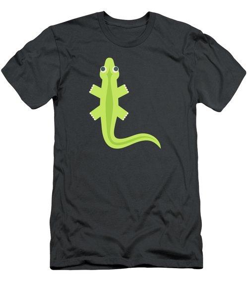 Letter L - Animal Alphabet - Lizard Monogram Men's T-Shirt (Athletic Fit)