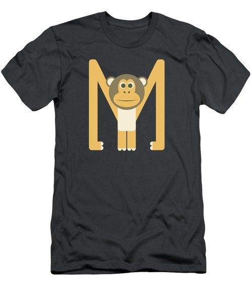Letter M - Animal Alphabet - Monkey Monogram Men's T-Shirt (Athletic Fit)