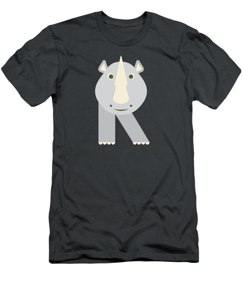 Letter R - Animal Alphabet - Rhino Monogram Men's T-Shirt (Athletic Fit)