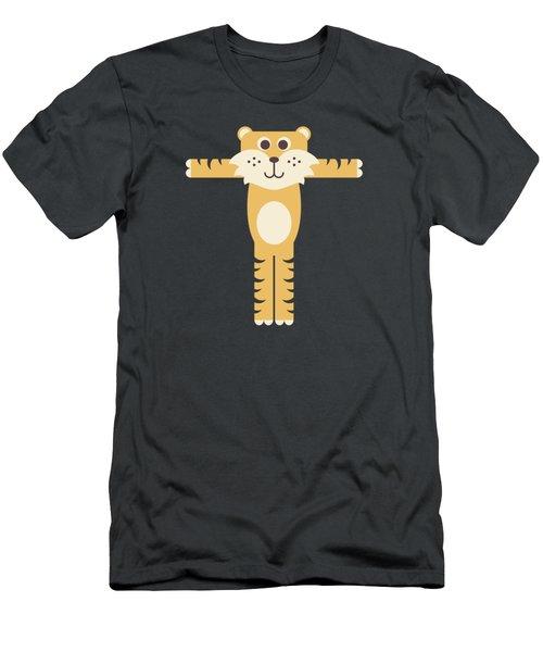 Letter T - Animal Alphabet - Tiger Monogram Men's T-Shirt (Athletic Fit)