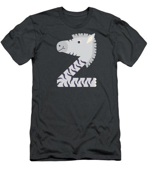 Letter Z - Animal Alphabet - Zebra Monogram Men's T-Shirt (Athletic Fit)