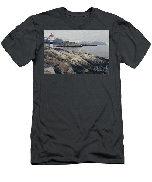 Lighthouse On Rocks Near The Atlantic Coast, Digital Art Oil Pai Men's T-Shirt (Athletic Fit)
