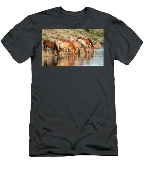 Lineup At The Pond-- Wild Horses Men's T-Shirt (Athletic Fit)