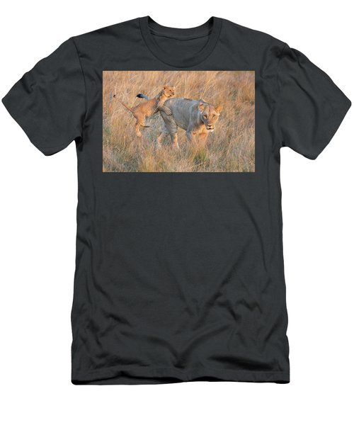 Men's T-Shirt (Athletic Fit) featuring the photograph Lioness And Cub by John Rodrigues