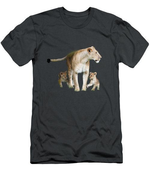 Lioness And Her Cubs Playing  Men's T-Shirt (Athletic Fit)