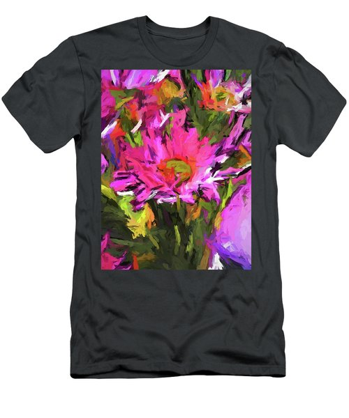 Lolly Pink Daisy Flower Men's T-Shirt (Athletic Fit)