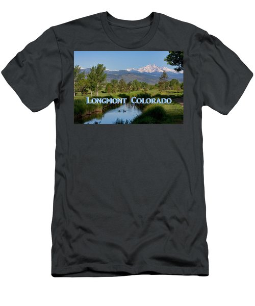 Men's T-Shirt (Athletic Fit) featuring the photograph Longmont Colorado Twin Peaks View Poster by James BO Insogna