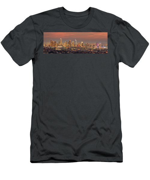 Los Angeles Skyline At Dusk Sunset  Men's T-Shirt (Athletic Fit)