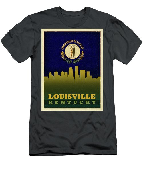 Louisville City Skyline State Flag Of Kentucky Men's T-Shirt (Athletic Fit)