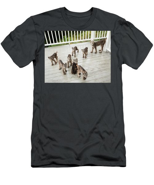Men's T-Shirt (Athletic Fit) featuring the photograph Lynx Family Portrait 11x14 by Tim Newton