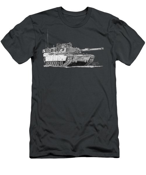 Men's T-Shirt (Athletic Fit) featuring the drawing M1a1 B Company Commander Tank by Betsy Hackett