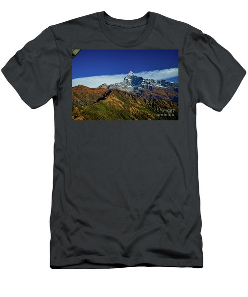 Machapuchare Mountain Fishtail In Himalayas Range Nepal Men's T-Shirt (Athletic Fit)