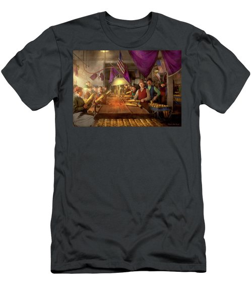 Men's T-Shirt (Athletic Fit) featuring the photograph Machinist - War - Meanwhile In The Bomb Factory 1912 by Mike Savad
