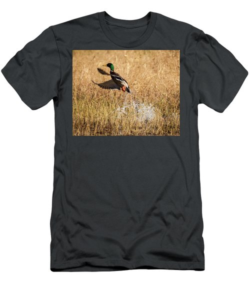 Men's T-Shirt (Athletic Fit) featuring the photograph Mallard Explosion by Jeff Phillippi