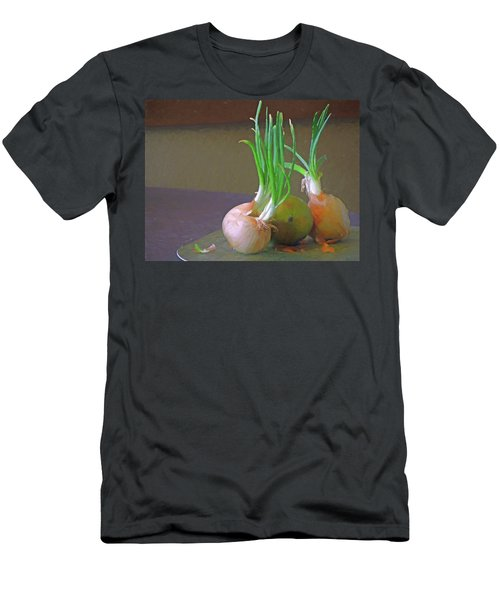 Men's T-Shirt (Athletic Fit) featuring the mixed media Mango At Rest  by Lynda Lehmann