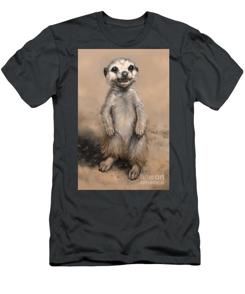 Men's T-Shirt (Athletic Fit) featuring the digital art Meercat by Lora Serra