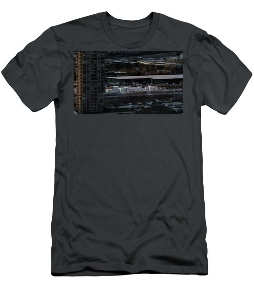 Men's T-Shirt (Athletic Fit) featuring the photograph Merchandise Beside A Railroad Track  by Juan Contreras