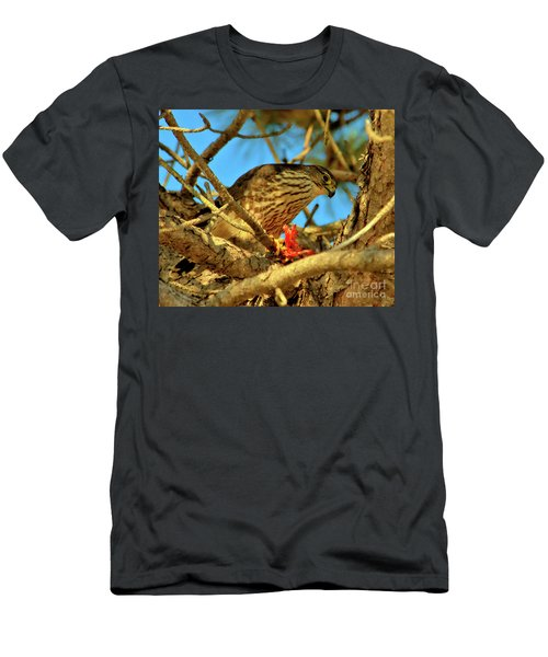 Men's T-Shirt (Athletic Fit) featuring the photograph Merlin Eating Breakfast by Debbie Stahre