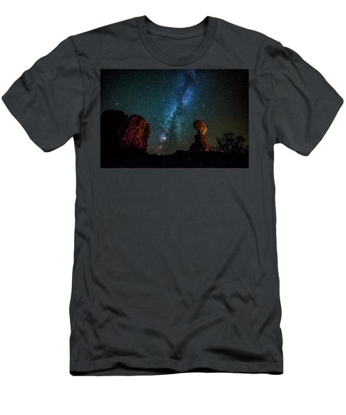 Men's T-Shirt (Athletic Fit) featuring the photograph Milky Way Over Balanced Rock by David Morefield