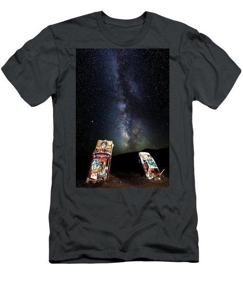 Milky Way Over Mojave Desert Graffiti 1 Men's T-Shirt (Athletic Fit)