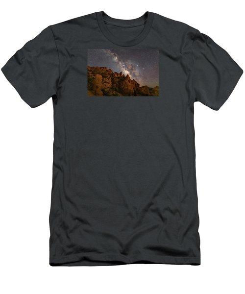 Milky Way Over Rocky Terrain Men's T-Shirt (Athletic Fit)
