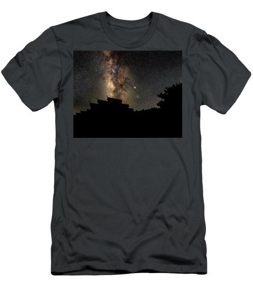 Milky Way Over The Dark Temple Men's T-Shirt (Athletic Fit)
