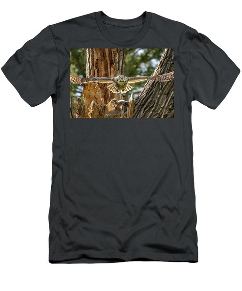 Momma Great Horned Owl Blasting Out Of The Nest Men's T-Shirt (Athletic Fit)