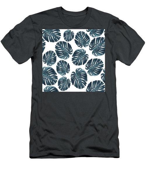Monstera Leaf Pattern - Tropical Leaf Pattern - Blue - Tropical, Botanical - Modern, Minimal Decor 1 Men's T-Shirt (Athletic Fit)