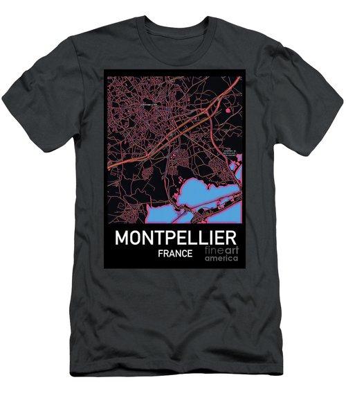 Montpellier City Map Men's T-Shirt (Athletic Fit)