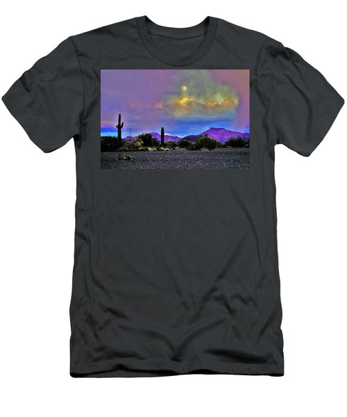 Moon At Sunset In The Desert Men's T-Shirt (Athletic Fit)