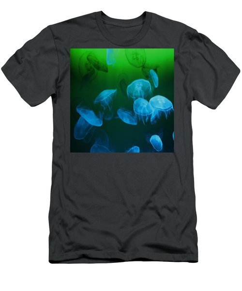 Moon Jellyfish - Blue And Green Men's T-Shirt (Athletic Fit)