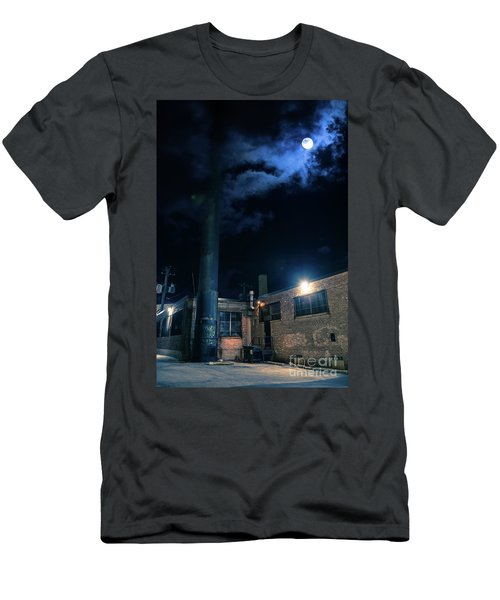 Moon Over Industrial Chicago Alley Men's T-Shirt (Athletic Fit)