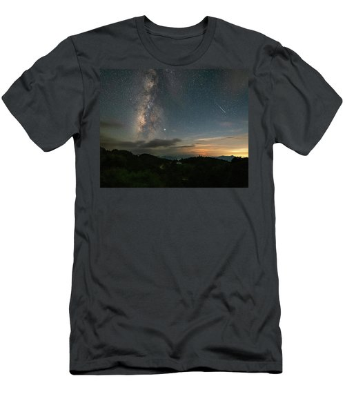 Moonset Milky Way And Shooting Star Men's T-Shirt (Athletic Fit)
