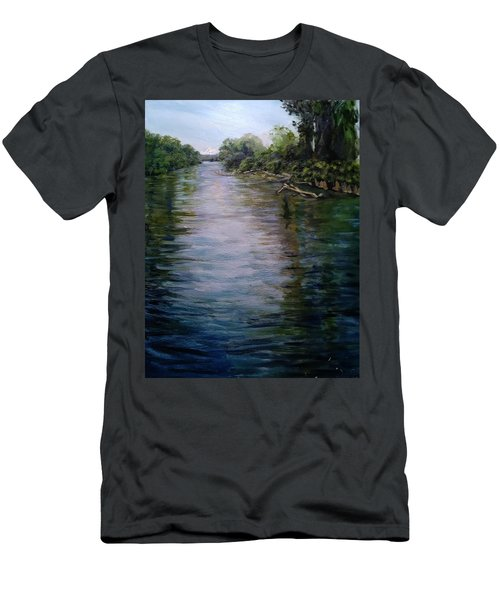 Mount Baker Peekaboo View From Lowell Riverfront Trail Men's T-Shirt (Athletic Fit)