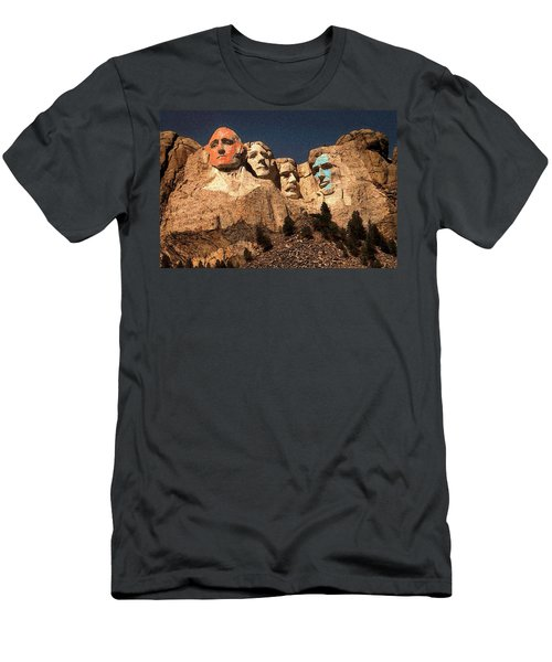 Mount Rushmore Red And Blue Drawing Men's T-Shirt (Athletic Fit)