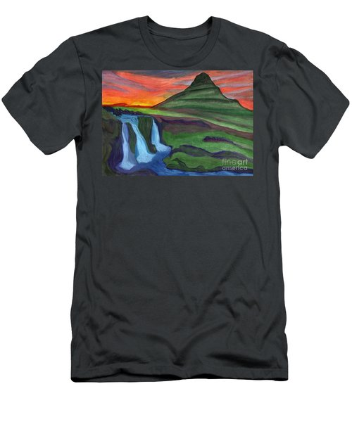 Mountain And Waterfall In The Rays Of The Setting Sun Men's T-Shirt (Athletic Fit)
