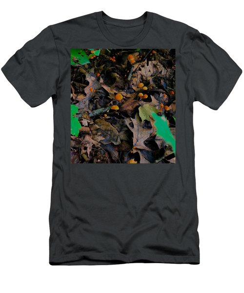 Men's T-Shirt (Athletic Fit) featuring the photograph Mushrooms And Leaf Litter by Lukas Miller