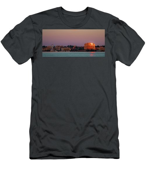 Men's T-Shirt (Athletic Fit) featuring the photograph National Harbor Reflecting The Sunset by Lora J Wilson