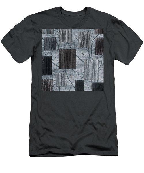 Neutral Toned Leaf Square Print Men's T-Shirt (Athletic Fit)