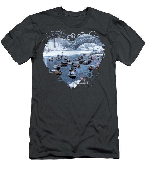 New York City Central Park Winter Ducks Men's T-Shirt (Athletic Fit)