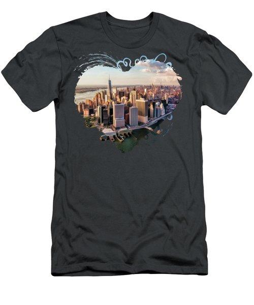 New York City Manhattan Aerial Skyline Men's T-Shirt (Athletic Fit)