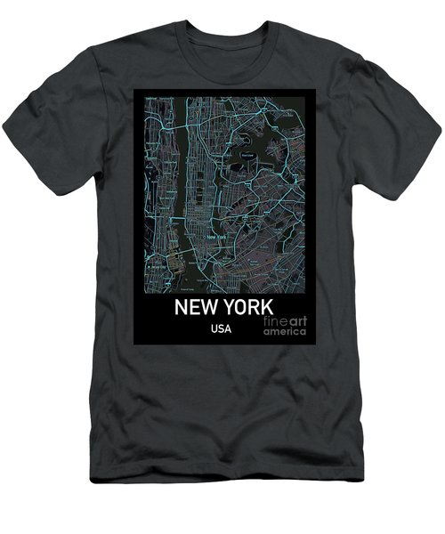 New York City Map Black Edition Men's T-Shirt (Athletic Fit)