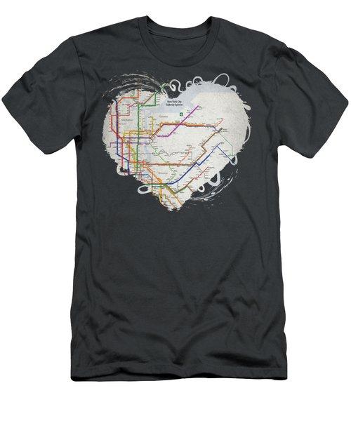 New York City Subway Map Men's T-Shirt (Athletic Fit)