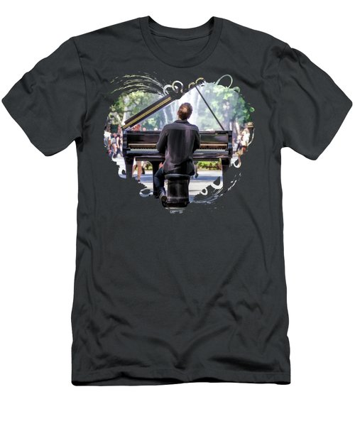 New York City Washington Park Piano Player Men's T-Shirt (Athletic Fit)